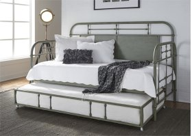 Twin Metal Day Bed w Trundle - Green