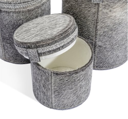 Fabrice Round Boxes - Natural Hide