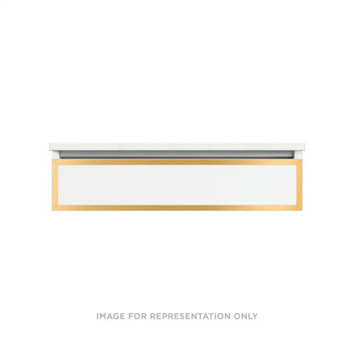"""Profiles 36-1/8"""" X 7-1/2"""" X 18-3/4"""" Framed Slim Drawer Vanity In White With Matte Gold Finish, Slow-close Full Drawer and Selectable Night Light In 2700k/4000k Color Temperature"""