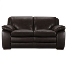 Armen Living Zanna Contemporary Loveseat in Genuine Dark Brown Leather with Brown Wood Legs