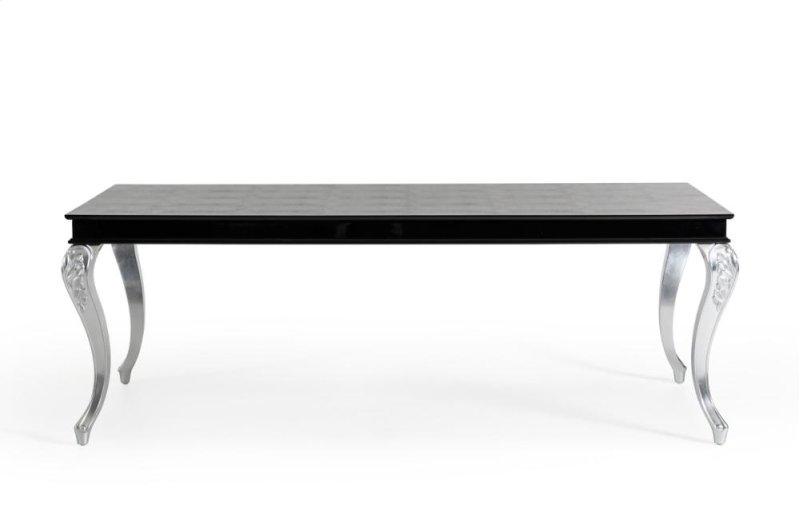 Additional A X Ampir Transitional Black Crocodile Dining Table W Silver Legs