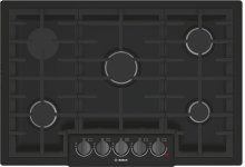 "800 Series 30"" 5 Burner Gas Cooktop, NGM8046UC, Black with Black Stainless Knobs"