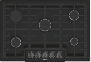 """800 Series 30"""" 5 Burner Gas Cooktop, NGM8046UC, Black with Black Stainless Knobs Product Image"""