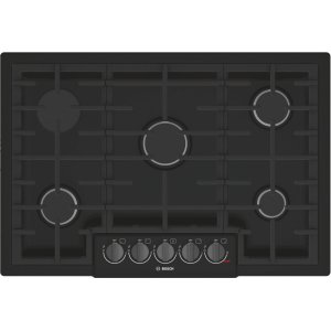 "BOSCH800 Series 30"" 5 Burner Gas Cooktop, NGM8046UC, Black with Black Stainless Knobs"