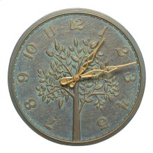 "Tree of Life 16"" Indoor Outdoor Wall Clock - Bronze Verdigris"