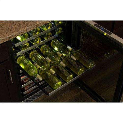 """24"""" High Efficiency Single Zone Wine Cellar - Stainless Frame, Glass Door With Lock - Integrated Left Hinge, Professional Handle"""
