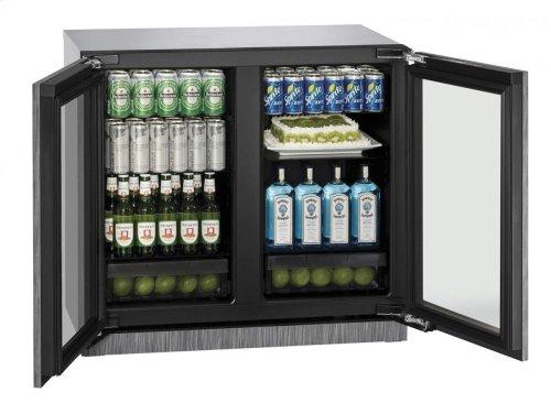 """36"""" Glass Door Refrigerator Integrated Frame Double Doors"""