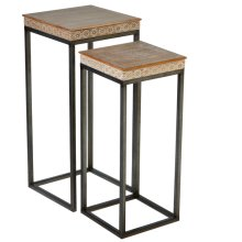 2 pc. set. Tribal Pattern Edge Nested Side Table. (2 pc. set)