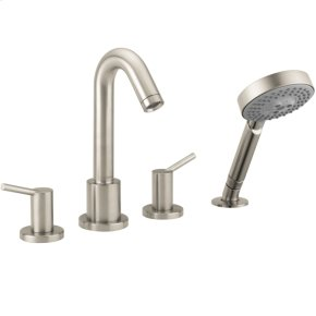 Brushed Nickel 4-Hole Roman Tub Set Trim with 2.0 GPM Handshower