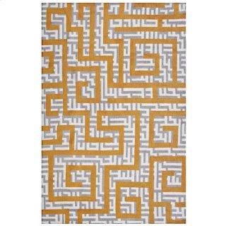 Nahia Geometric Maze 8x10 Area Rug in Ivory, Light Gray and Banana Yellow