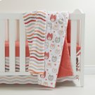 Gray \u0026 Coral Owls 3-Pces Crib Bed Set and Coral Stripes Pattern Throw - Gray and Coral Product Image