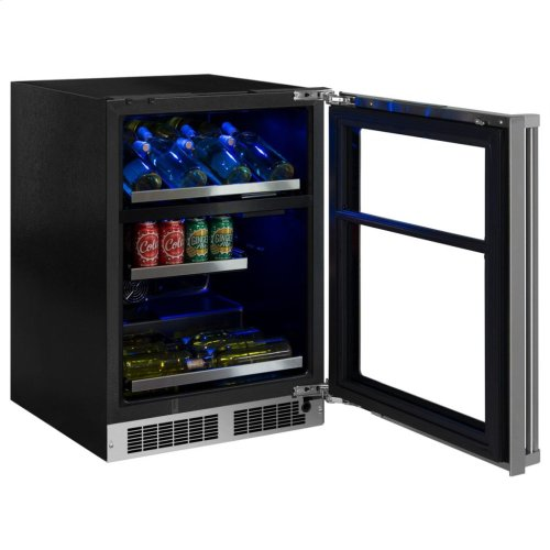 """Marvel Professional 24"""" Dual Zone Wine and Beverage Center - Stainless Frame, Glass Door With Lock - Integrated Right Hinge, Professional Handle"""