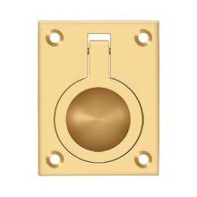 "Flush Ring Pull, 2 1/2""x 1 7/8"" - PVD Polished Brass"