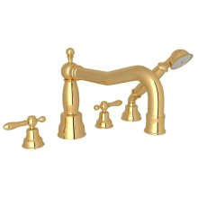 Italian Brass Arcana Column Spout 4-Hole Deck Mount Tub Filler With Handshower with Arcana Series Only Classic Metal Lever