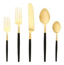 5 Pce - Black/Gold Stainless Steel Cutlery Set