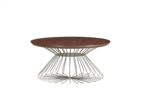 Emerald Home Pizzazz Round Coffee Table W/wood Top and Metal Base Walnut T144-00