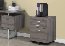 FILING CABINET - 3 DRAWER / DARK TAUPE ON CASTORS