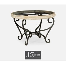 Limed Wood and Glass Top Centre Table with Wrought Iron Base