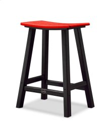 "Black & Sunset Red Contempo 24"" Saddle Bar Stool"
