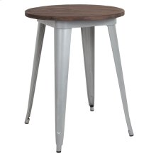 "24"" Round Silver Metal Indoor Table with Walnut Rustic Wood Top"