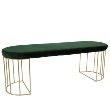 Canary Bench - Gold Metal, Emerald Green Velvet