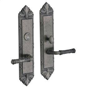 Distressed Antique Nickel Fenwick Escutcheon Entrance Set