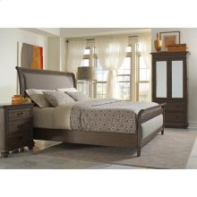 Belmeade - King/california King Sleigh Upholstered Footboard - Old World Oak Finish