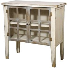 Tuscany Small Cabinet 2 Glass Doors, Rustic White