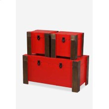 (LS) Dome nesting treasure chest with metal accents(set of 3)Red(15x12x12.5/12.5X8.5X11.5/10X7X9)