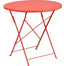 30'' Round Coral Indoor-Outdoor Steel Folding Patio Table
