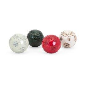 Homestead Christmas Ceramic Filler Balls 4 in Gift Box