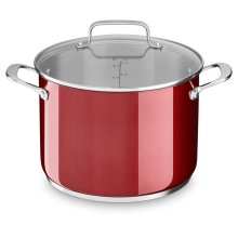 Stainless Steel 8.0 Quart Stockpot with Lid - Candy Apple Red