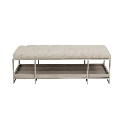 Sutton Place Tufted Storage Bed Bench in Grey Oak