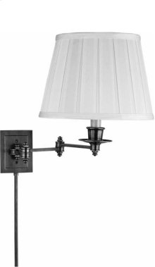 Visual Comfort S2000PN-L Studio 19 inch 100 watt Polished Nickel Swing-Arm Wall Light in Linen