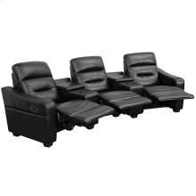 Futura Series 3-Seat Reclining Black Leather Theater Seating Unit with Cup Holders