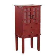 14J8038RE  Red Glass Door Jewelry Armoire