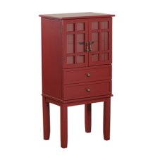 14J8038RE  Red Glass Door Jewelry Armoire