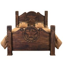 King Country Bed W/Rope&Star Medio Finish