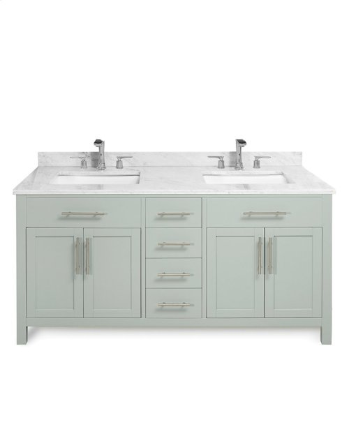 White MALIBU 60-in Double-Basin Vanity Cabinet with Crema Marble Stone Top and Karo 18x12 Sink