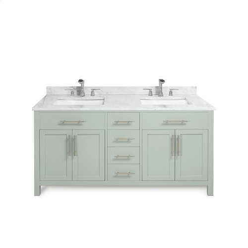 White MALIBU 60-in Double-Basin Vanity Cabinet with Crema Marble Stone Top and Muse 18x12 Sink