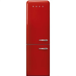 "SmegApprox 24"" 50'S Style refrigerator with automatic freezer, Red, Left hand hinge"