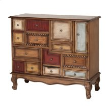 Shelby Apothecary-style Chest With Multi-colored Drawers and Doors