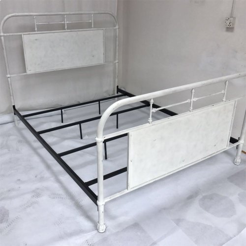 King Metal Bed - Antique White