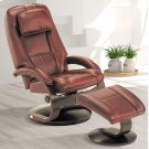 Merlot (Burgundy) Top Grain Leather with Alpine (Black) Finish - Reclines - Swivels - Lumbar Support - Adjustable Headrest - Quality Breathable Air Leather Product Image