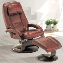 Merlot (Burgundy) Top Grain Leather with Alpine (Black) Finish - Reclines - Swivels - Lumbar Support - Adjustable Headrest - Quality Breathable Air Leather