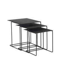 Carbon Traverse Metal Top Nesting Tables - Set/3