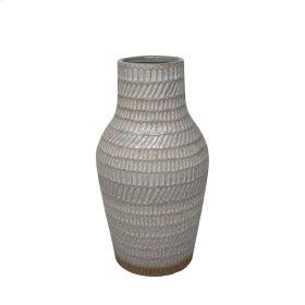 "Ceramic 12"" Tribal Look Vase, Ivory"
