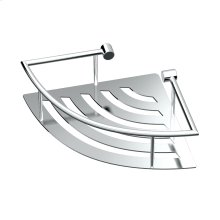 Elegant Corner Shelf with Rails in Chrome