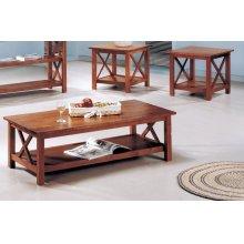 Casual Medium Brown Three-piece Occasional Set