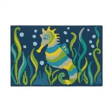Seahorse Rug, BLUE, 2X3